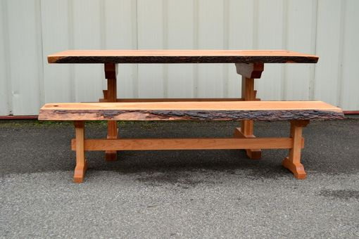 Custom Made Live Edge Cherry Dining Table And Bench