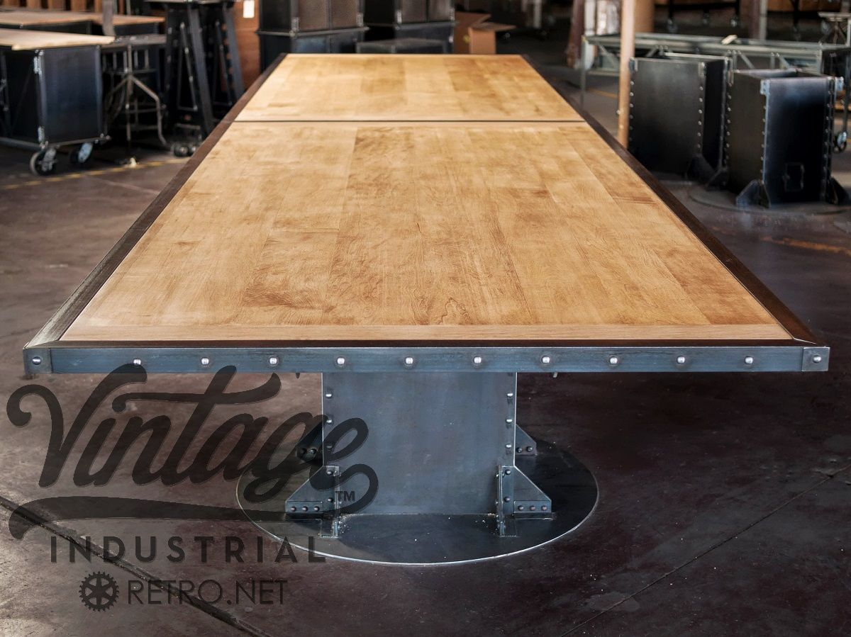 Post industrial conference table vintage industrial furniture - Custom Made Vintage Industrial I Beam Conference Table