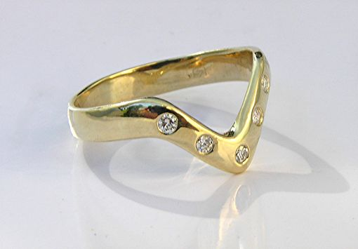 Custom Made Unique Custom Diamond V Ring - Non Traditional Wedding Ring Band
