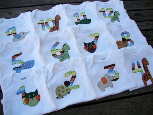 "Custom Made Monthly Onesies - ""Onesies By The Dozen"""