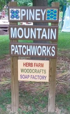 Custom Made Piney Mountain Patchworks Sign