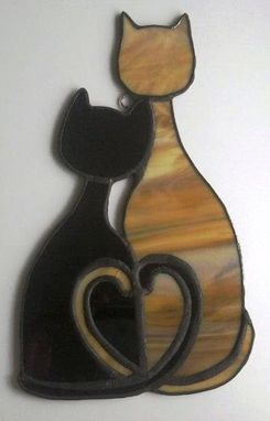 Custom Made Cozy Cats - Stained Glass Sun Catcher  (G-7)