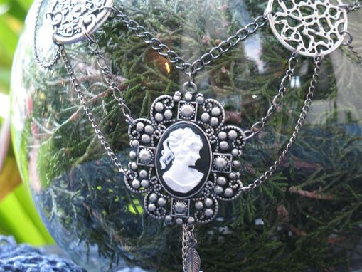 Custom Made Jewelry: Steampunk / Neo-Victorian Necklace: Silver Cameo With Filigree