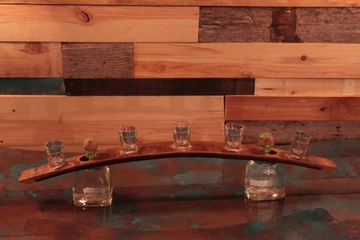 Custom Made Western Whiskey Barrel Shot Glass Serving Display.