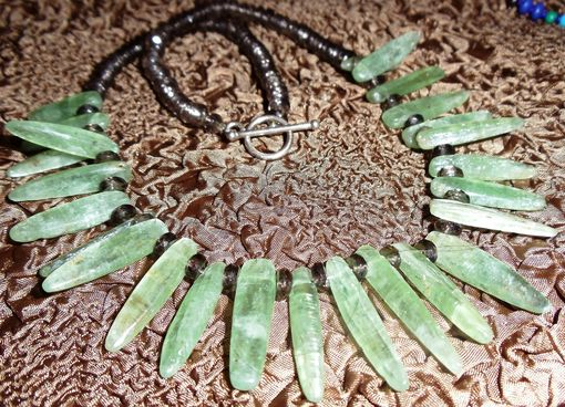Custom Made Green Kyanite And Smoky Quartz Organique Necklace