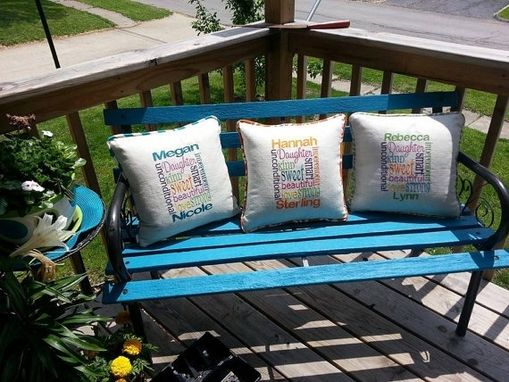"Custom Made Beautiful 16"" Embroidered Subway Art Pillows For Mom, Grandma, Sister, Daughter Or Friend"