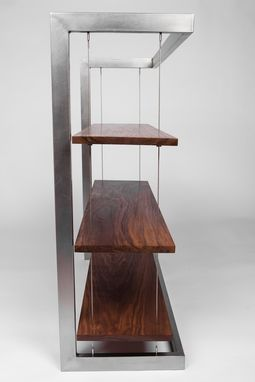 Custom Made Modern Suspended Bookshelf Walnut