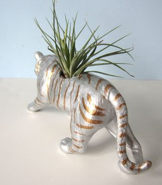Custom Made Upcycled Toy Planter - Large Silver And Gold Striped Tiger With Air Plant