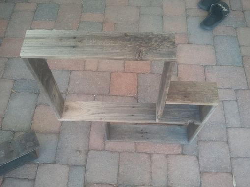 Custom Made Barnwood Shelf With Three Compartments