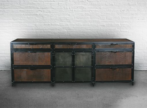 Custom Made Industrial Reclaimed Wood File Cabinet. Lateral Filing Storage. Rustic Hutch/Buffet/Credenza.