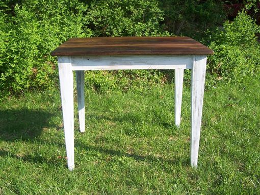 Custom Made Reclaimed Wormy Chestnut Kitchen Table With Painted Skirt
