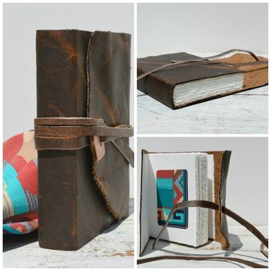 Custom Made Leather Bound Handmade Western Journal Bandana Rodeo Bull Hide Copper Diary Watercolor Art Notebook