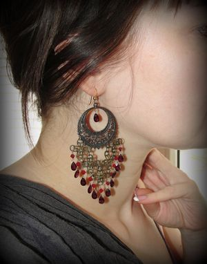 Custom Made Red Garnet Vintage Style Earrings With Swarovski
