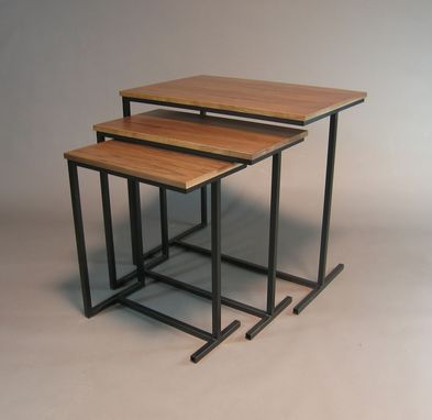 Custom Made Nesting Tables.  Walnut Veneer And Metal Base.