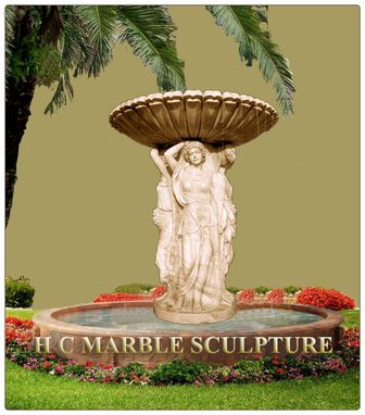 Custom Made Four Seasons W Maidends Marble Fountain / Pool Base