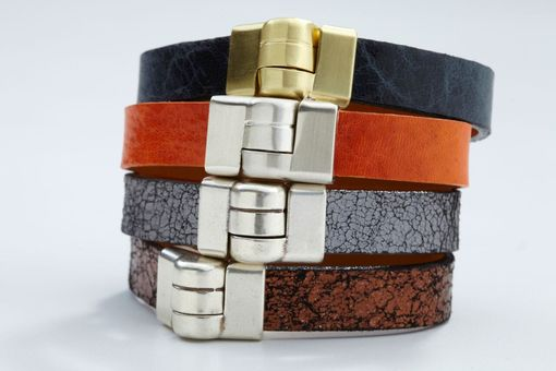 Custom Made Genuine Leather Wristband Bracelet In Navy Blue