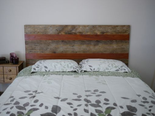 Custom Made Queen Size Rustic Headboard With Reclaimed Lumber And Exotic Wood.
