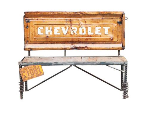 Custom Made Chevrolet Truck Tailgate Bench - Repurposed Car Part Furniture