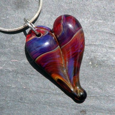 Custom Made Heart Necklace Glass Pendant Silver Chain Handblown Sra Amber Purple