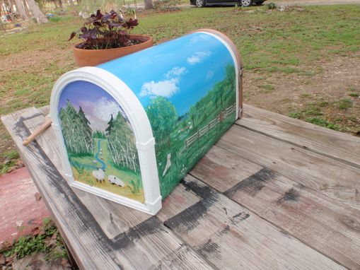 Custom Made Mailbox Hand Painted Massachusetts Sheep Ranch