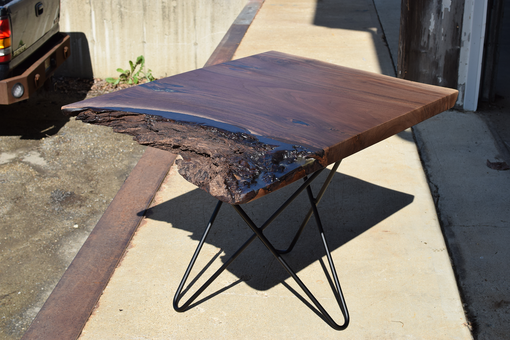 Custom Made Black Walnut Live Edge Table With Woven Hair Pin Legs.