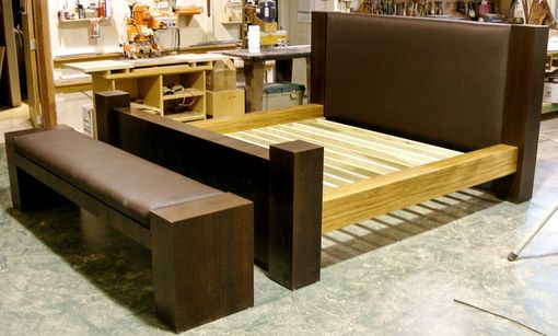 Custom Made Walnut Bed And Bench