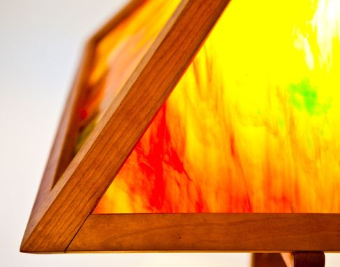 Custom Made Colored Glass And Walnut Table Lamp