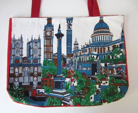 Custom Made Upcycled Tote Bag Made From A London Souvenir Towel