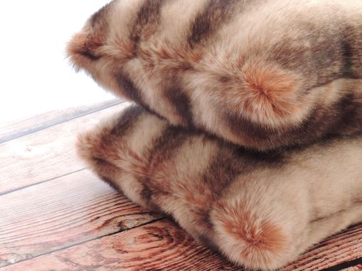 Custom Made Chinchilla Fur Brown Faux Fur 18 X 18 In. Decorative Pillow - Set Of 2