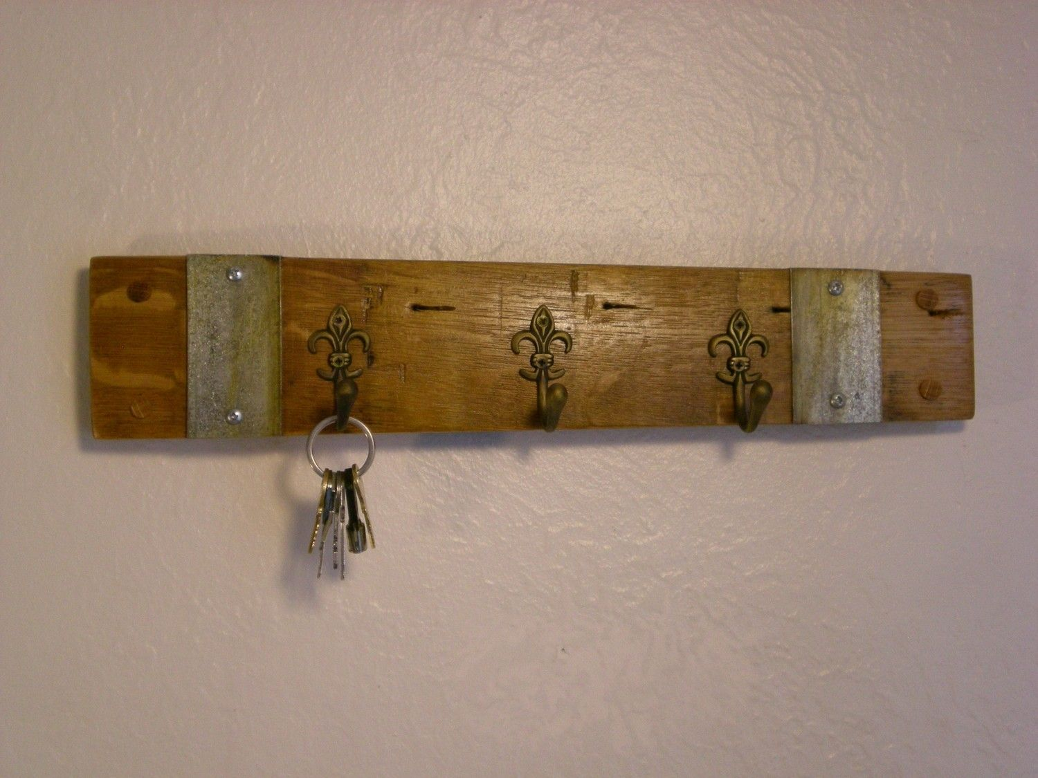 Hand Made Wine Barrel Key Rack With Fleur De Lis Hooks By