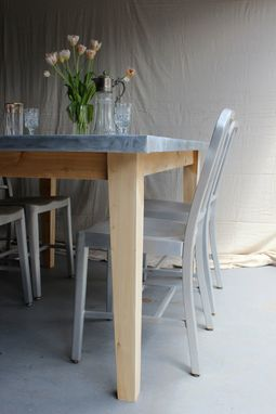 Custom Made Rustic Reclaimed & Sustainably Harvested Wood Kitchen Farm Table With Zinc Top