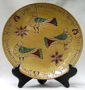 Custom Made Ceramic Plate, Three French Hens