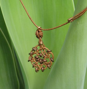 Custom Made Necklace And Pendant: Circle Of Life Knot In Brown With Copper Beads