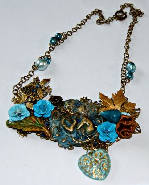 Custom Made Ooak - Blue Angels Necklace - Assemblage/Collage, Brass, Enamel