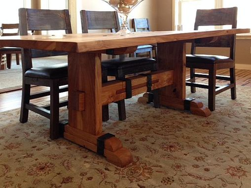 Custom Made Solid Reclaimed White Oak Dining Table With Iron Accents