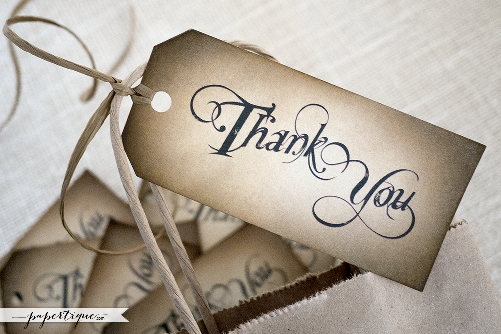 Hand Crafted Thank You Favor Tags - Rustic Wedding Gift Tags ...