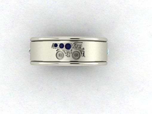 Custom Made Spinner Ring With Diamond ,Aquamarine And Sapphires