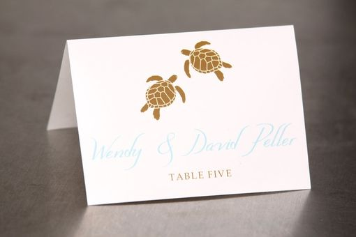 Custom Made Wedding Place Cards - Turtles On The Beach - Escort Cards Custom Designed