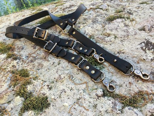 Custom Made Double Thick Black Leather Suspenders With Antique Brass Hardware