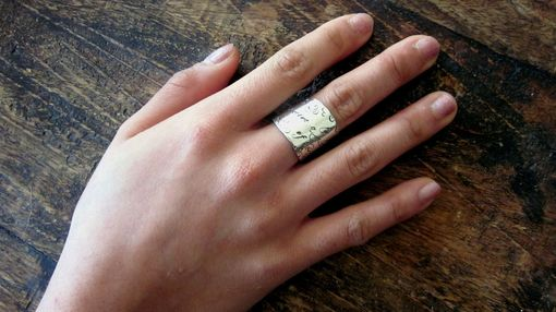 Custom Made Wide Band Signature Ring In Sterling Silver