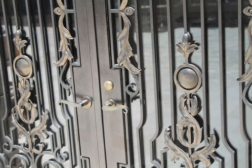 Custom Made Hand Forged Wrought Iron Front Entry French Doors Steel Scrolls Bronze Handles