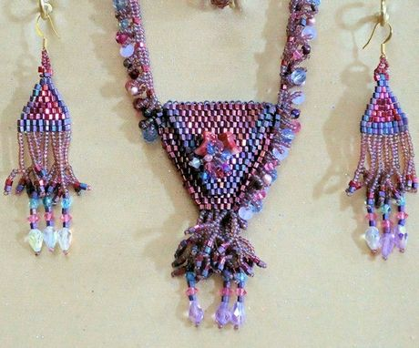 Custom Made Beaded Amulet Bag Necklace And Earrings.