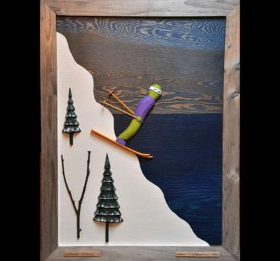 Custom Made 'Skiing Moguls' Wooden Wall Art