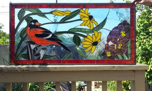 "Custom Made Stained Glass Panel -   ""Oriole In A Floral Surrounding"" (P-25)"