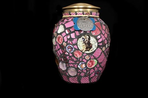 Custom Made Mosaic Pet Cremation Urn With Photo Montage