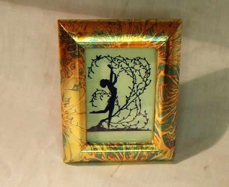 Custom Made Silhouette Picture In Variegated Gold Leaf Frame,Handmade,Unique.