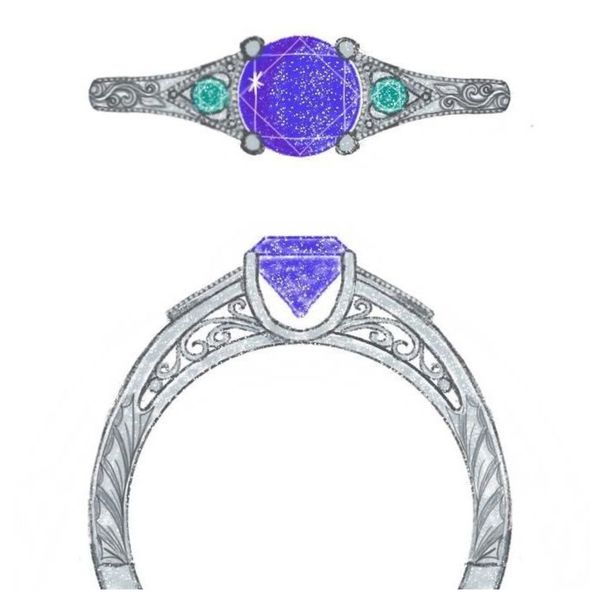 Our sketch for a vintage-inspired engagement ring pairs emerald accents with a tanzanite center stone.