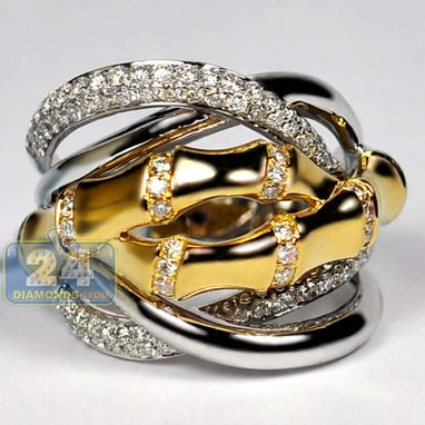 Custom Made Womens Diamond Bamboo Ring 18k White Yellow Gold 0.83 Ct Round Cut Certified