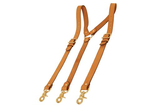 Custom Made Tan Leather Suspenders