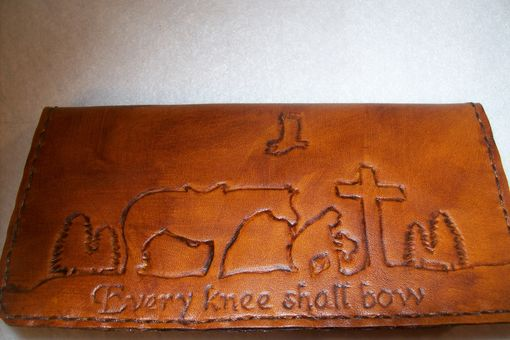 Custom Made Custom Leather Checkbook Cover With Kneeling Cowboy